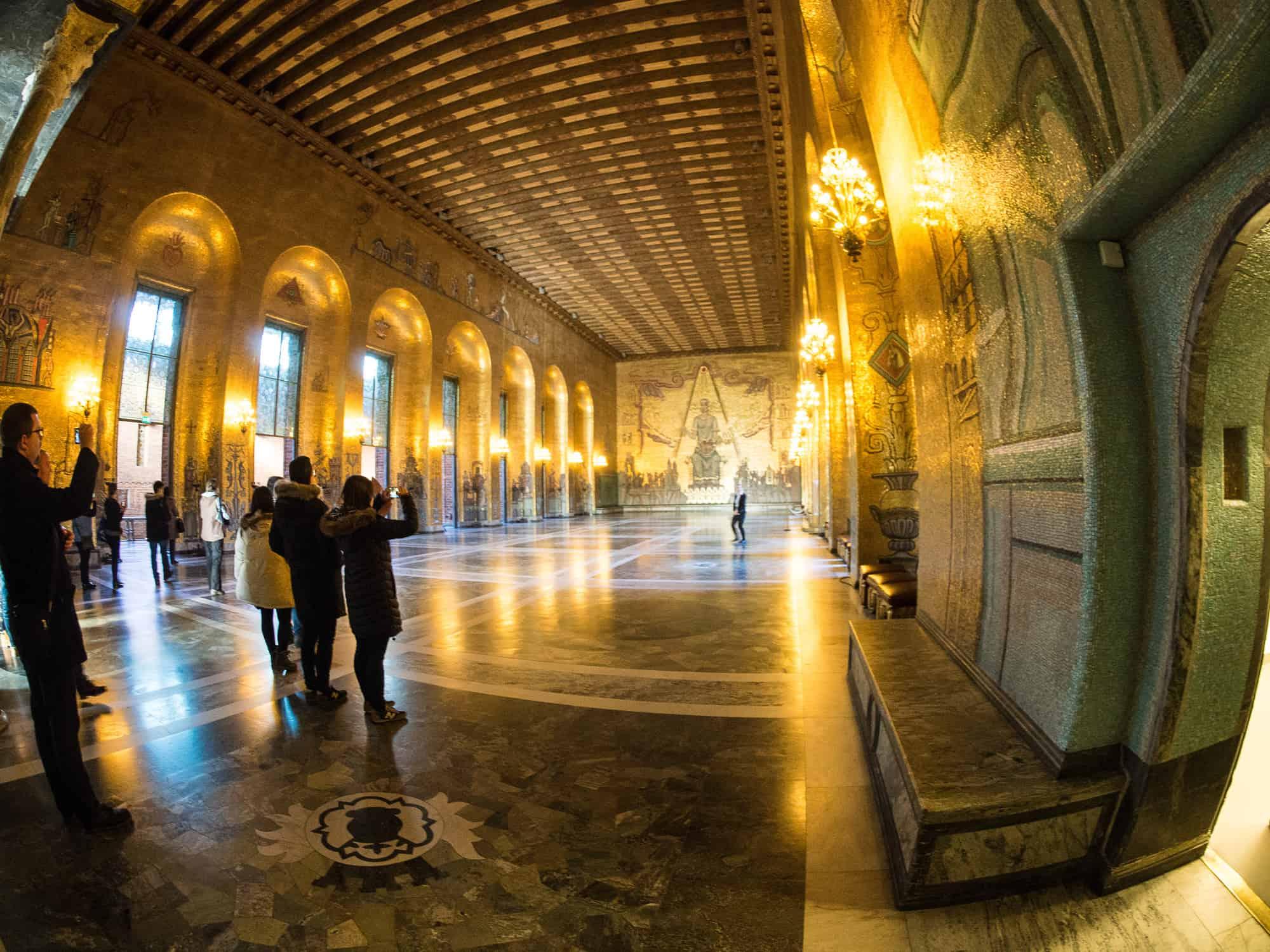 Goldener Saal im Stadshuset, Rathaus in Stockholm