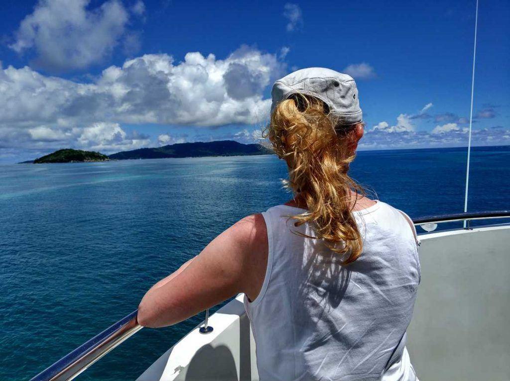 Unterwegs auf der Fähre von Praslin nach Mahé Seychellen
