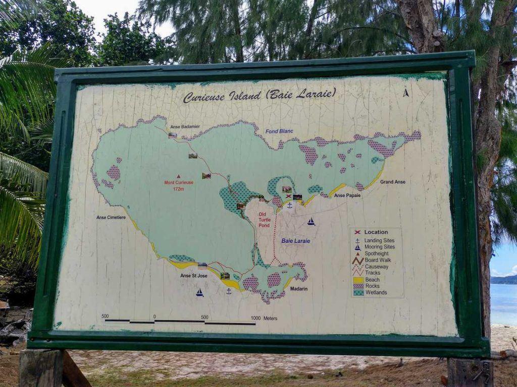 Übersichtskarte Insel Curieuse Seychellen