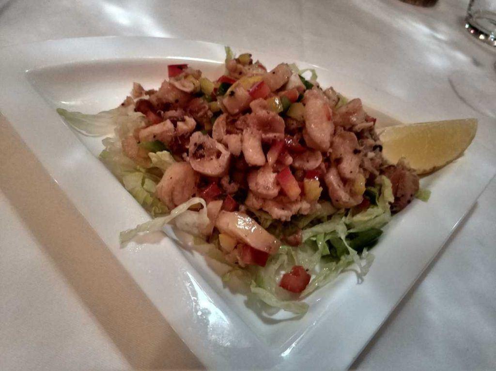 Oktopus Salat im Chez Plume auf Mahe Seychellen