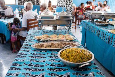 Buffet im Restaurant Chez Loutcha in Calhau Sao Vicente Kapverden