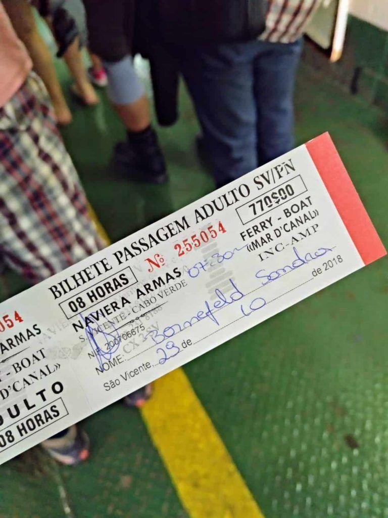 Ticket für die Fähre von Sao Vicente nach Santo Antao Kapverden