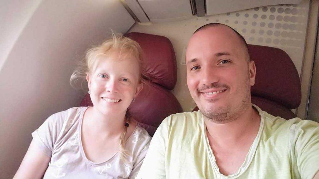 Sandra und Stephan in der Binter Maschine von Sao Vicente nach Santiago